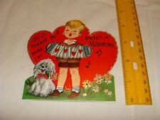 Vintage Valentine's Day card  - Boy playing Accordian/squeeze box with puppy