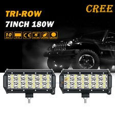 "2X 7"" 180W CREE LED Work Light Bar SPOT Tri-Row Offroad 4WD Truck PICKUP SUV 6"""