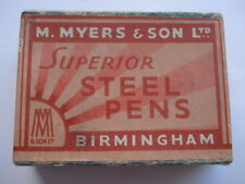 C1930S VINTAGE M.MYERS & SONS LTD No 2184 SUPERIOR STEEL PEN NIBS BOX & NIBS