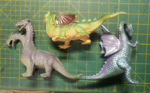Lot of 3 Rubber Dragon Figures from 2000 Unbranded Two-Headed Fantasy Creatures