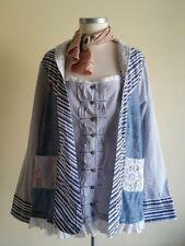 Joe Browns Denim Patchwork Pinstripe Lace Shirt Shacket Size 18 Boho Lagenlook