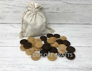 Wooden Draughts Chess Backgammon Checkers Chips Pieces With Pouch