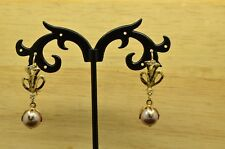 10K YELLOW GOLD DANGLING WHITE PEARL FISHHOOK EARRINGS LEAF DESIGN & CZ ACCENTS
