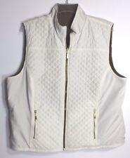 Karen Scott Womens XL Quilted Ivory Beige Reversible Sleeveless Warm Jacket Vest