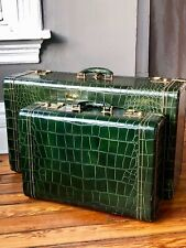 2PC VINTAGE 40'S ROYALSHIRE TRUNK GREEN LEATHER CROCODILE SUITCASES LUGGAGE BAGS