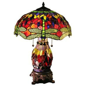 Double-lit Red Dragonfly Tiffany Style Stained Glass Dragonfly Table Lamp