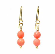 Pink Coral Earrings Semi-precious Faceted Gemstone Beads 9ct Gold Hooks