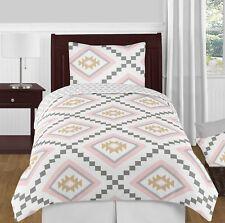 Sweet Jojo Pink Gold Grey Boho Aztec Twin Size Girls Teen Bedding Comforter Set