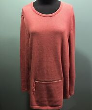 J.Jill Cotton Cashmere Pink Zipper Pocket Long Sleeve Oversize Knit Sweater L