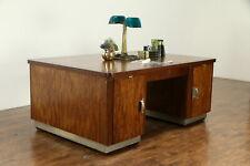 Midcentury Modern Danish Vintage Mahogany Library Partner Desk #32897