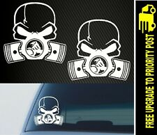 For Holden Commodore SKULL PISTON STICKER x2 DECAL CAR GAS MASK DRIFT HOON