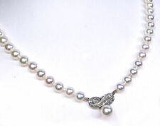 """5.5-6MM Akoya Pearl Necklace with Diamond Pearl Center Piece 14K Yellow Gold 16"""""""