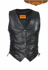 Women's Motorcycle Cowhide Leather Vest w/ Leather Side Laces & Multiple Pockets