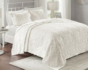 WHITE CHENILLE VINTAGE XXL ULTRA SOFT PLUSH LARGE BEDSPREAD QUILT SET
