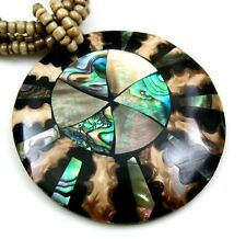 ABALONE, MOTHER OF PEARL & CONE SHELL necklace ;DA365