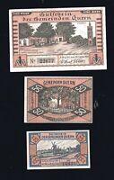 3 x Notgeld 25, 50 Pf + 1 M Gutschein Gemeinden  QUERN  (heute Steinbergkirche)
