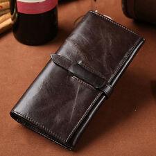 Men's Vintage Genuine Leather Wallet Long Bifold Money Card Holder Clutch Purse