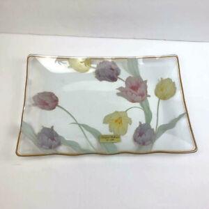 Lefton Platter Floral Clear Glass Rectangle Shallow Vtg Plate