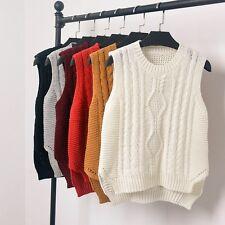 Ladies Chunky Knit Sleeveless Sweater Pullover Tops Vest Side Slit Weave Jumper