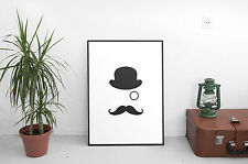Funny poster impression photo wall art top hat monocle moustache