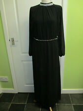 MADE IN ITALY FITS A UK 12-14 LONG FORMAL BLACK CHIFFON DRESS WITH DIAMONTE NECK