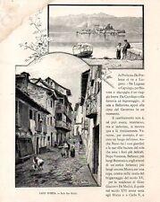 Stampa antica LAGO D'ORTA coppia di vedute Isola San Giulio 1892 Old print