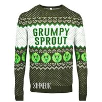 NEW Men's AVENUE Grumpy Sprout Christmas Green Jumper festive KNITTED Primark