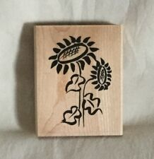 Unknown Brand Wood Mount Rubber Stamp - Flowers Sunflowers