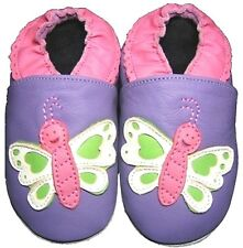 butterfly purple  4-5 Toddler Minishoezoo soft sole leather shoes slippers