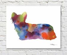 Skye Terrier Abstract Contemporary Watercolor Art 11 x 14 Print by Djr