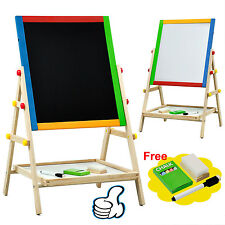 Creative Chalkboard Children Kid 2 In 1 Double Side Wooden Easel Chalk Board BU