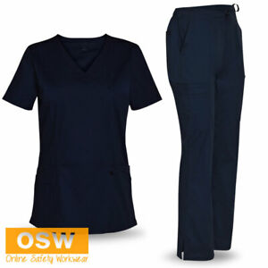 Womens Ladies Navy Hospital/Health/Nurse 2-Way Stretch Scrubs Top & Pant Set