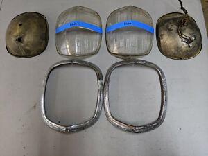 Original 1939 Nash LaFayette Headlight Assemblies Glass Bezel & Buckets