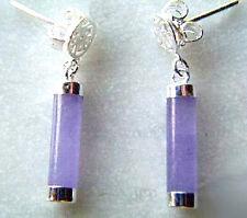 Purple Lavender Jade 925 Sterling Silver Fortune Stick Earrings