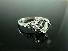6048 Ring Setting Sterling Silver Size 8.5, 7.5 mm Round Gemstone