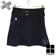 INSIGHT 'BLACK PUDDING' WOMENS MINI SKIRT BLACK PLAID CHECK UK 10 12 RRP £43
