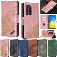 Crocodile Wallet Leather Flip Case Cover For Huawei Y5P Y6P Y7P Y7 2019 P40 Lite