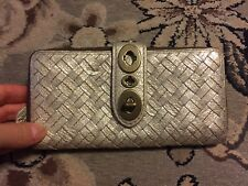 COACH GOLD METALLIC WOVEN LEATHER ZIP AROUND FULL SIZE WALLET CLUTCH TURNLOCK