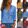 US Women's Long Sleeve Loose V-neck Blouse Casual Tops Striped Button-Up Shirt