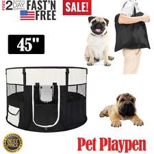 "45"" Pet Dog Kennel Fence Puppy Playpen Exercise Pen Portable Folding Crate Black"