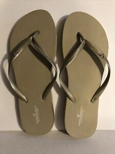 American Eagle Outfitters Tan Gold Women's Flip Flops Size 7/8