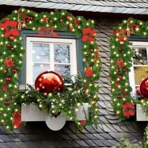 9ft Christmas Garland LED Light Up Fireplace Wreath Pine Stair Xmas Tree Decor