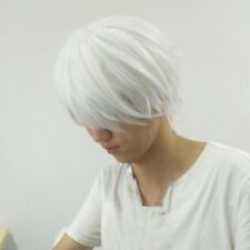 Male White Wig for Cosplaying Anime Characters Straight Short Synthetic Wigs AZ