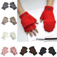 Women Lady Soft Warm Coral Fleece Gloves Winter Plush Half Finger Fluffy Mittens