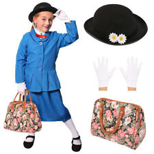 MAGICAL NANNY COSTUME W/ DAISY HAT HANDBAG GLOVES BOOK DAY CHARACTER FANCY DRESS