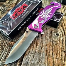 """RAZOR TACTICAL 8"""" Spring Assisted Opening Rescue Pocket Knife PURPLE SCORPION-TH"""