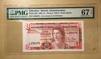 Gibraltar Pick# 20d £1 Pound 1986 PMG 67 EPQ - S/N # L236075 Top Pop!