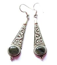 ED95 BEAUTIFUL FLASHY LABRADORITE & 925 TOOLED STERLING DANGLE EARRINGS