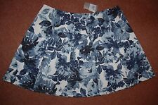 New Sz 18 Blue & White Floral Print Wedgewood full skater Skirt Exposed Zip