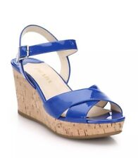 New Prada Blue Patent Leather Criss Cross Cork Wedge Sandals Size 39/9 $590